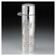 1908 Figural Engraved Sterling Silver Scent Perfume Bottle