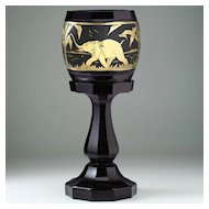 Tall c.1920s-30s Facet Cut Black Amethyst Glass Deco Vase with Animor Style Gilt Elephant Frieze