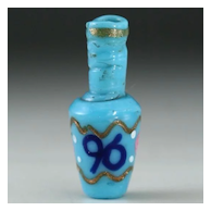 "c.1890 Miniature Venetian ""96"" Blue Glass Scent Perfume Bottle"