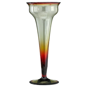 c.1900 Tall Amberina Modernist Glass Vase