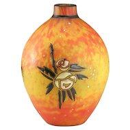 c.1920s Andre Delatte Nancy Colour Flecked & High Enamel Vase, Signed