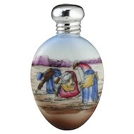 """1904 Porcelain Scent Perfume Bottle With Jean-Francois Millet """"Gleaners"""" Motif, Silver Top"""