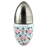 c.1890 Floral Enamelled Porcelain Smelling Salts Scent Perfume Bottle