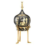 Early 20th Century Japanese Damascene Perfume Scent Bottle With Egyptian Theme
