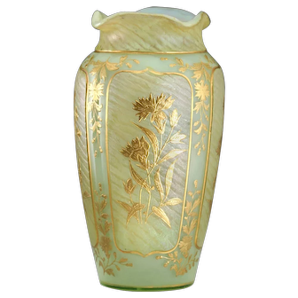c.1900 Uranium Iridescent Glass Vase With Raised Gilt Floral Decoration, Probably Harrach