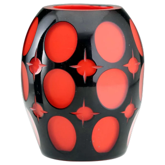 c.1914-20 Johann Oertel Black Cut To Red Glass Vase