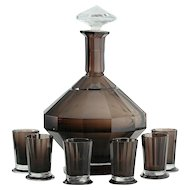 c.1930s Val St. Lambert Deco Smoky Plum And Clear Crystal Decanter And Six Glasses Set
