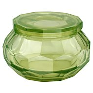 c.1920s Uranium Green Facet Cut Glass Bowl & Cover, Possibly Wiener Werkstätte