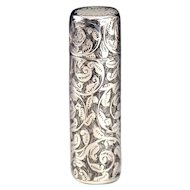 1899 Bright Cut Sterling Silver Scent Perfume Bottle
