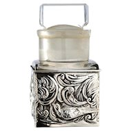 1903 Sterling Silver Scent Perfume Bottle Holder Stand With Crystal Bottle