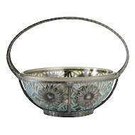 c.1920s 30s Pierre d'Avesn Lorrain Moulded & Stained Deco Glass Bowl In Metal Stand