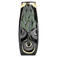 c.1930s Scailmont Black Deco Moulded & Enamelled Glass Vase