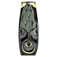 c.1930s Scailmont Black Deco Moulded & Enamelled Glass Vase