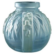 c.1930s Muller Freres Relief Moulded & Stained Deco Glass Vase, Signed