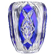 c.1970s Val St. Lambert Blue Overlay Crystal Limited Edition Aberdeen Vase