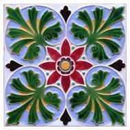 c.1860 English embossed majolica tile, Minton & Co.