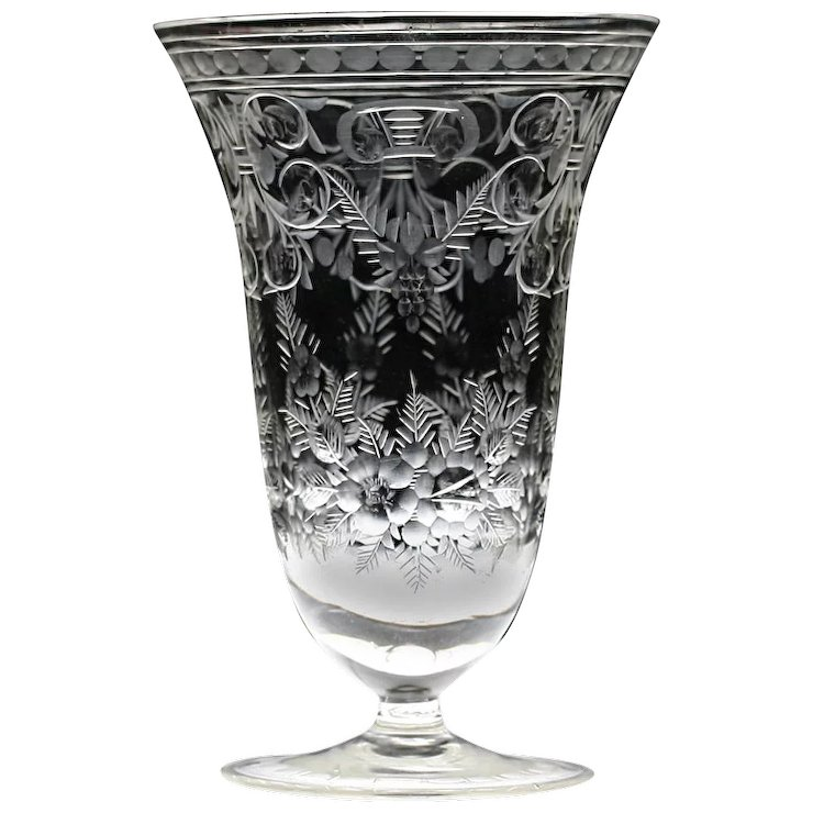 C1950s Finely Engraved Crystal Vase Halcyon House Fine Antiques