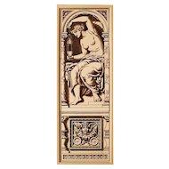 rare c.1885 Mintons three tile figure sculpture panel #2, framed