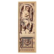 rare c.1885 Mintons three tile figure sculpture panel, framed