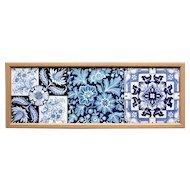 Three c.1900 English blue & white transfer printed tiles, framed