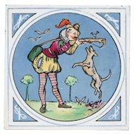 "c.1875-80 Minton Hollins humorous hunting scene 8"" tile, framed"