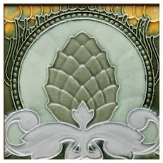 c.1900 Le Glaive Belgium Art Nouveau Pineapple tile, framed