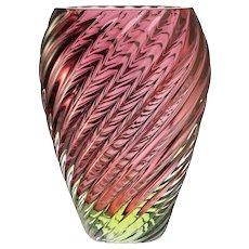 c.1950s-60s Murano UV Vaseline cased maroon glass art vase