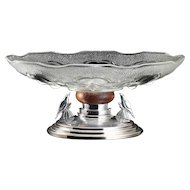 c.1930s French Art Deco moulded glass bowl on bird stand