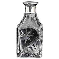1930 Engraved Crystal Scent Perfume Bottle, Sterling Top
