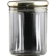 1920 Cut Crystal Oval Dressing Table Jar with Sterling Silver Cover