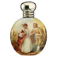 1907 Miniature Porcelain Scent Perfume Bottle, Romantic Couple Motif