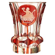 c.1880 Bohemian ruby flashed and engraved glass christening tumbler beaker