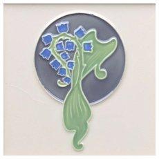 c.1900 Art Nouveau bell flower tile #2, Hemixem Belgium, framed