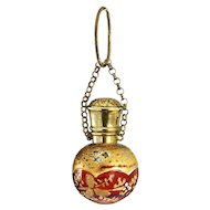 c.1880 Enamelled & Gilded Ruby Glass Scent Perfume Bottle, Brass Top