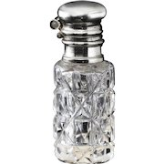 c.1900 cut crystal cylinder scent perfume bottle with Stanhope viewer