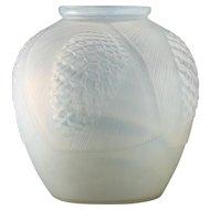 c.1930s French Art Deco opalscent glass pine cone vase, Henri Dieupart