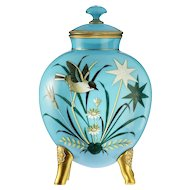 c.1880 Harrach pale blue opaline glass vase, hand enamelled with bird and dragonfly