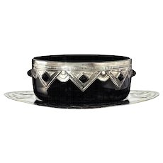 c.1930s black amethyst Art Deco glass bowl with pewter and cabochon mounts, plus tablet