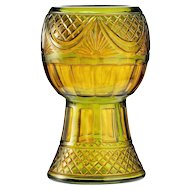 c.1910 Bohemian green and amber cut glass vase, Steinschönau