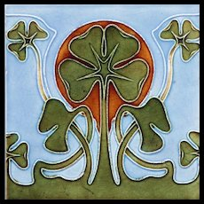 c.1905 Art Nouveau clover tile, possibly Tonwerk Offstein