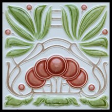 c.1905 Continental Art Nouveau cherries tile, possibly Bendorf