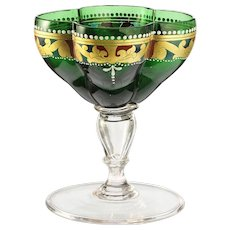 c.1870 four-lobe enamelled glass goblet by Salviati #4