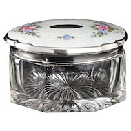 c.1930s Crystal Dressing Table Pot Box, Enamelled Guilloche Sterling Lid