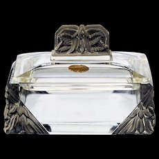 c.1930s Czech Deco crystal container & cover with acid etched flower ends