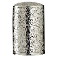 1899 Bright Cut Sterling Silver Cylinder Scent Perfume Bottle