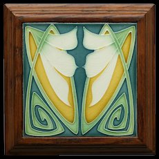 Rare c.1905 Art Nouveau stylised floral tile by Servais Werke Ehrang, framed