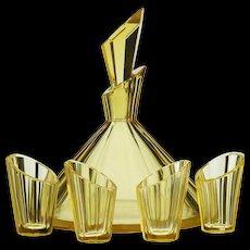 c.1930s Deco yellow glass decanter & glasses set