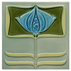 c.1905 Minton Hollins floral tile in the Rennie Mackintosh style