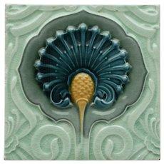 c.1900 English Art Nouveau floral relief tile