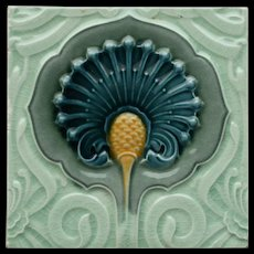 c.1900 English Art Nouveau floral relief tile